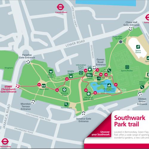 Southwark Park Trail Map