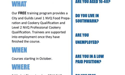 Bermondsey Community Kitchen Free Training Courses Autumn 2017
