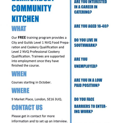 Bermondsey Community Kitchen Free Training Courses Autumn 2017