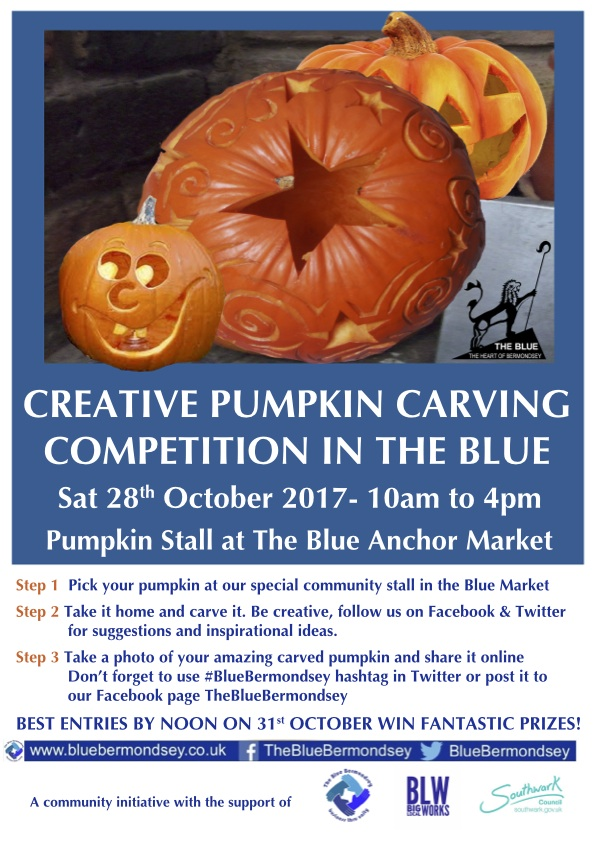 Creative pumpkin carving competition in the blue market