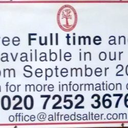 Part time and full time places available at Alfred Salter Nursery