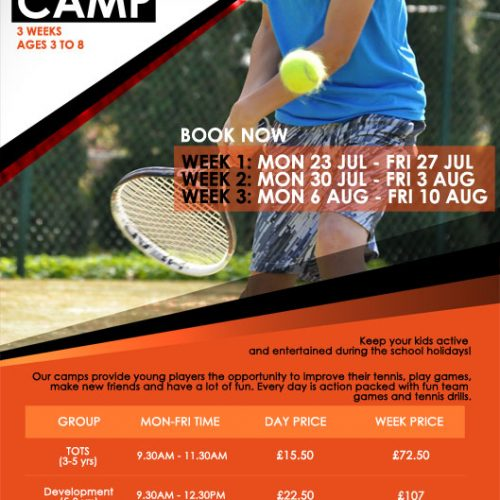 Canada Water Tennis Summer Holidays Junior Tennis Camp 2018