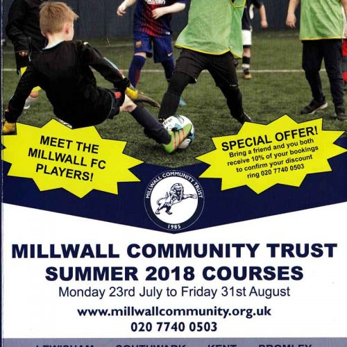 Millwall Community Trust's Summer 2018 Courses