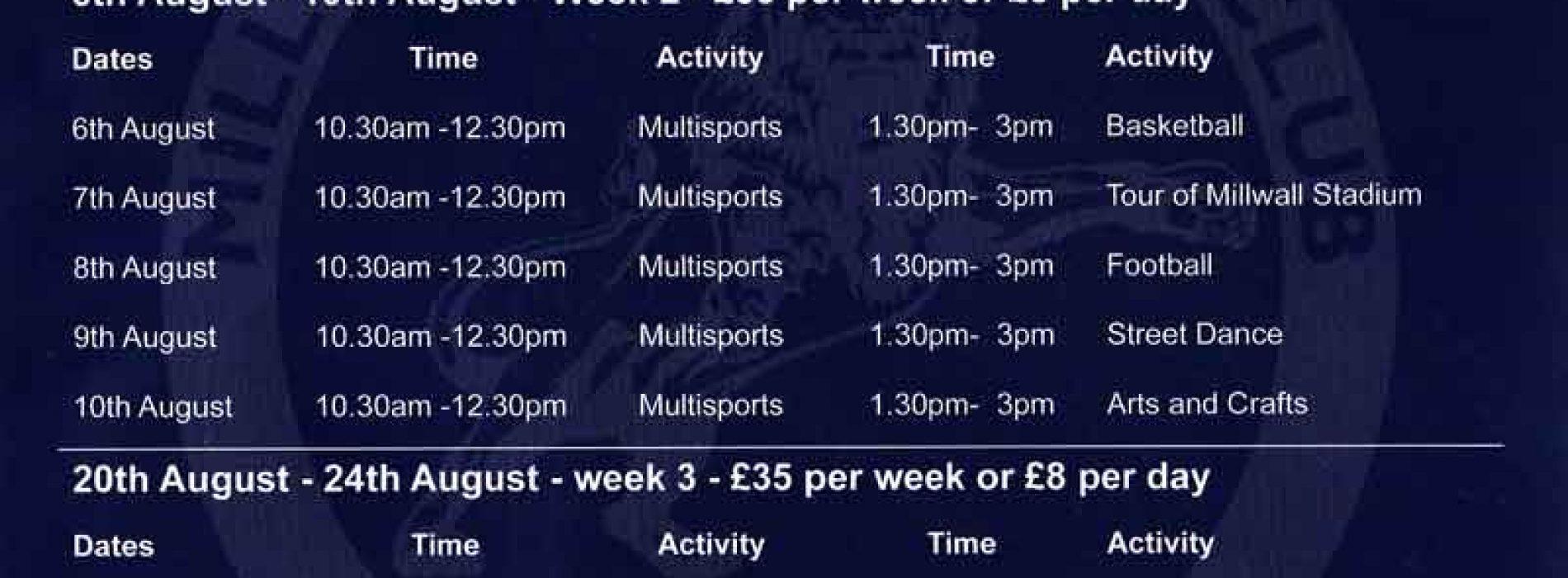 Millwall Community Trust's Summer 2018 Courses