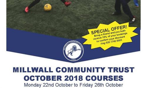 Millwall Community Trust October Half Term 2018 Holiday Courses