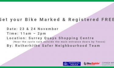 Free Bike-marking event at Surrey Quays