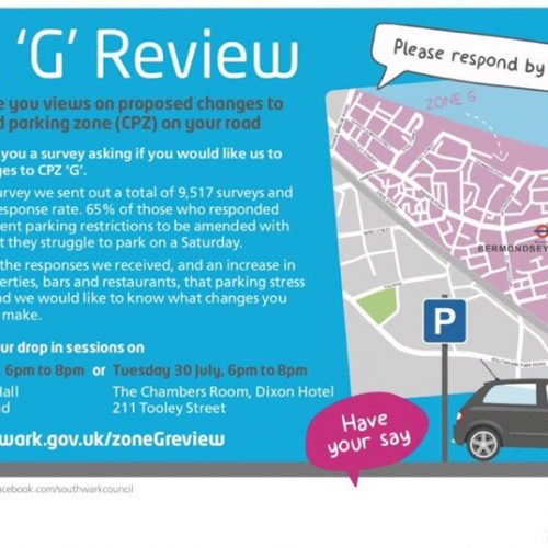 Public consultation: CPZ 'G' Review (Bermondsey)