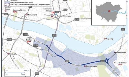 TFL Cycleway 4 construction,  restrictions in place in Bermondsey and Rotherhithe