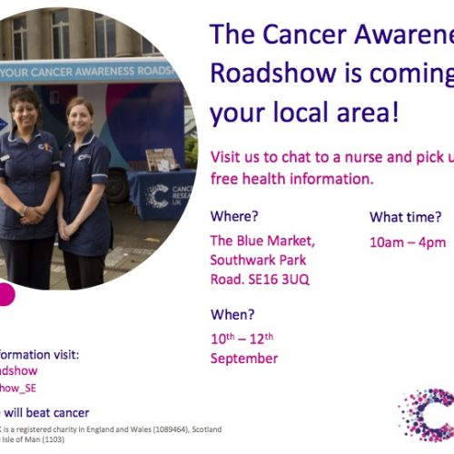 Visit The Cancer Awareness Roadshow in The Blue