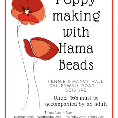 Poppy Making with Hama Beads at Rennie and Manor Hall